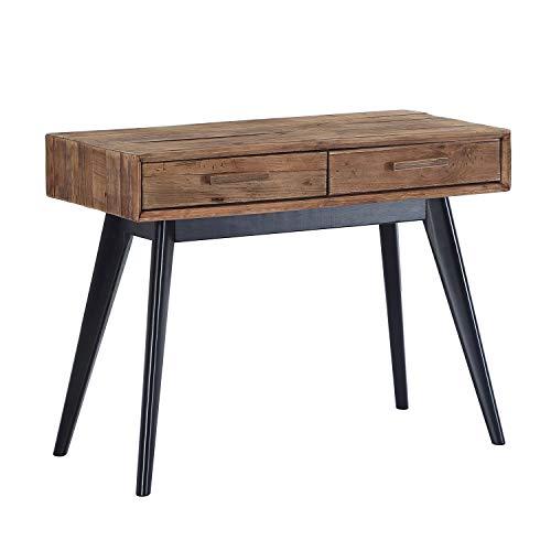 Pixe, Consola, Recibidor, Mueble Entrada con 2 cajones, Acabado en Pino Reciclado, Medidas: 100 cm (Largo) x 76 cm (Alto) x 48 cm (Fondo)