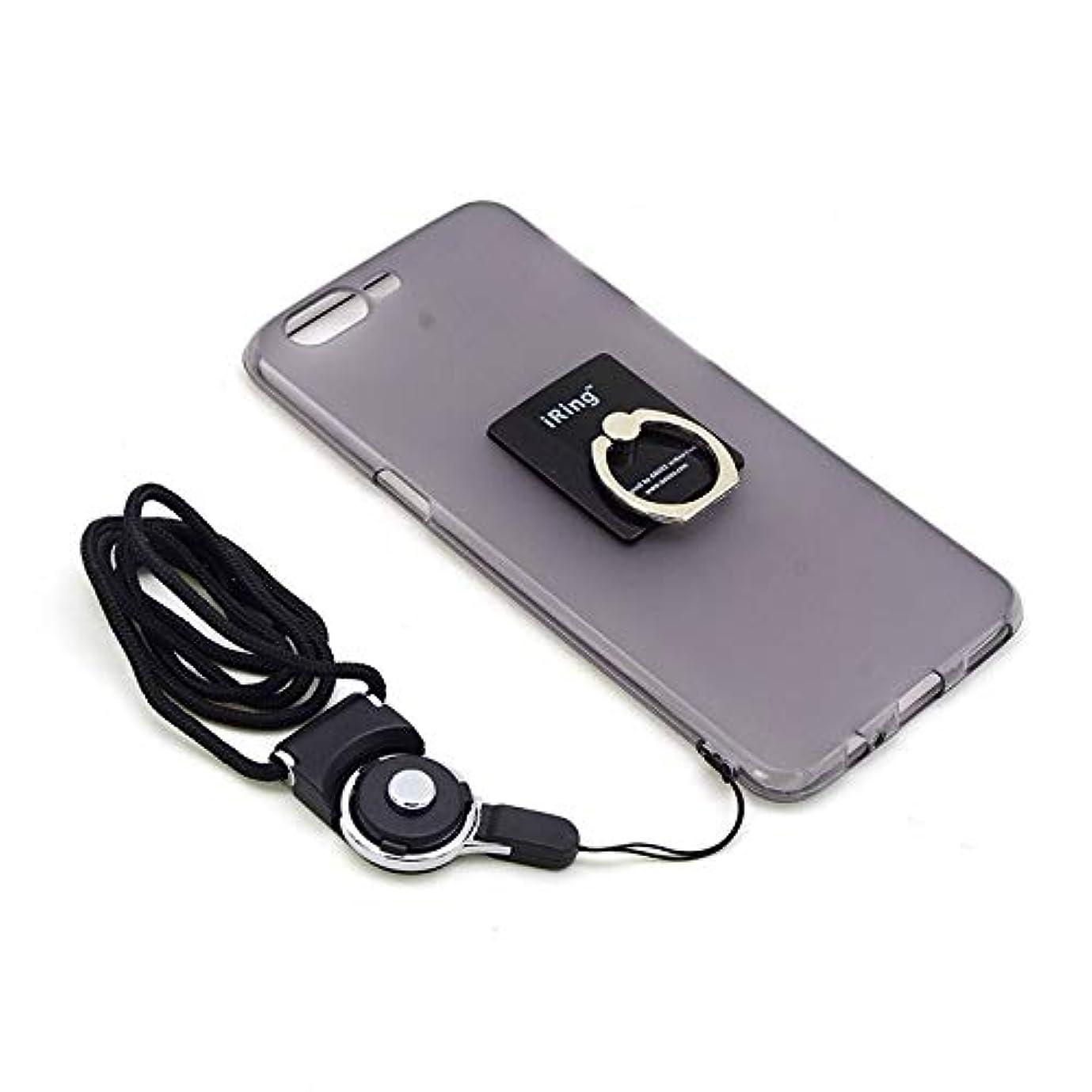 Jicorzo - Oneplusファイブメタルキーチェーンフィンガーリングホルダーのための新しい携帯電話ケースONE PLUS 5 1プラス3T TPUケースについてネックストラップスタンド
