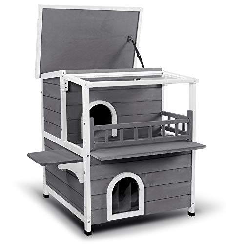 Lovupet 2-Story Wooden Outdoor/Indoor Luxurious Cat Shelter House Condo with Transparent PVC Canopy...