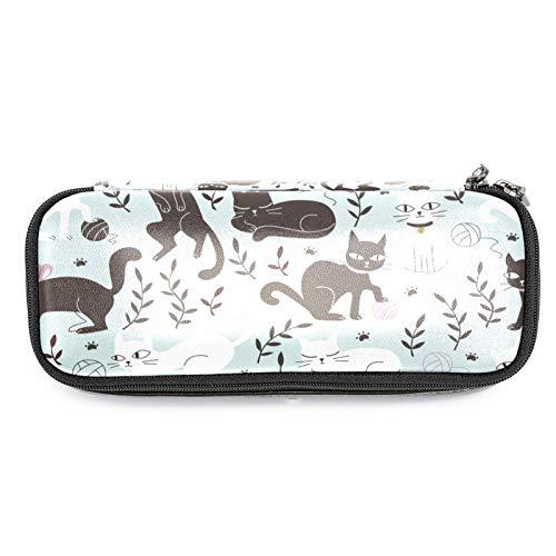 Estuche de piel con diseño de gatos lindos, con doble cremallera, bolsa de almacenamiento para niños y niñas