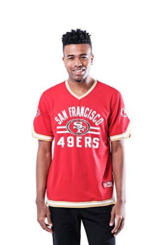 Ultra Game NFL San Francisco 49ers Mens Standard Jersey V-Neck Mesh Stripe Tee Shirt, Team Color, Large