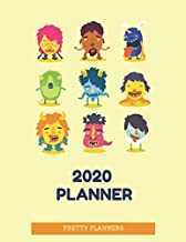 2020 Planner: Pretty Planners: Sweet Planner with  Cute Monsters on the Cover, Yellow Matte Cover, Planner 2020, 8.5x11 in