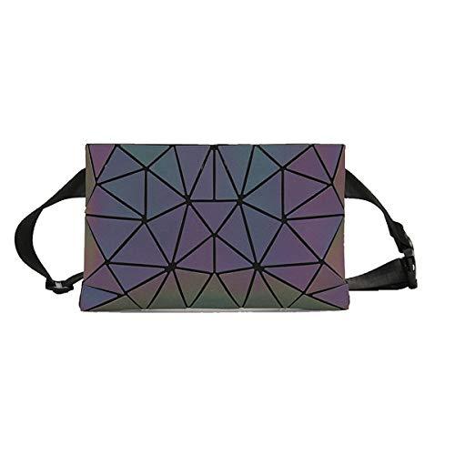 Bauchtasche Damen Bauchtasche Hüfttaschen Geometrische Leuchtend Hüfttasche PU-Leder Gürteltasche Verstellbarer Gurt Fanny Pack Waist Bag für Frauen Taschen (Grau Geometrische Bauchtasche)