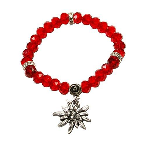 Alpenflüstern Perlen-Trachten-Armband Fiona Crystal mit Strass-Edelweiß - Damen-Trachtenschmuck, elastische Trachten-Armkette, Perlenarmband rot DAB042