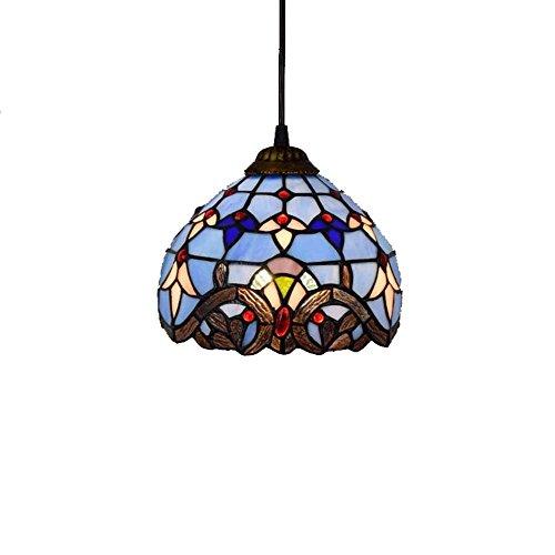 8-Zoll-Tiffany-Stil Kronleuchter Europäische Retro-Buntglas-Pendelleuchte Barock-Wohnzimmer, Schlafzimmer, Küchendekoration Deckenpendelleuchte E27X1, 110-240 V (Lampen nicht enthalten) Blau Kronleuch