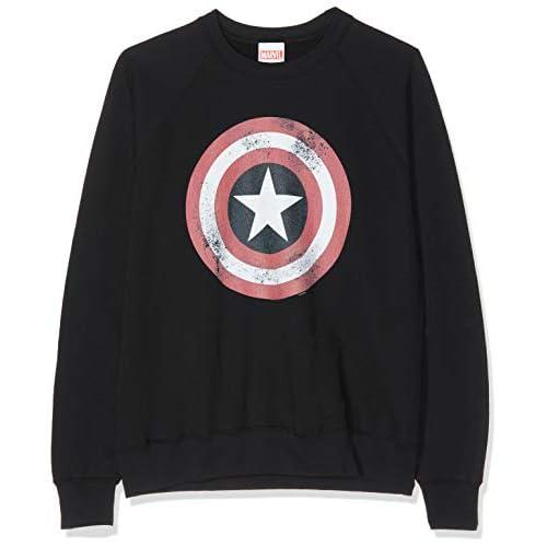 Marvel Avengers Captain America Distressed Shield T-Shirt, Nero (Black Blk), 48 (Taglia Unica: XX-Large) Donna