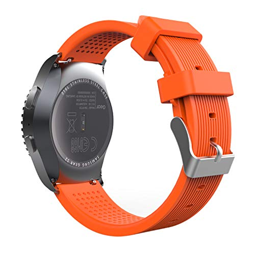MoKo Correa Compatible con Galaxy Watch 3 41mm/Galaxy Watch 42mm/Galaxy Watch Active/Active 2/Gear S2 Classic/Garmin Vivoactive 3, 20mm Correa de Reloj Deportivo, Banda de Reloj de Silicona, Naranja