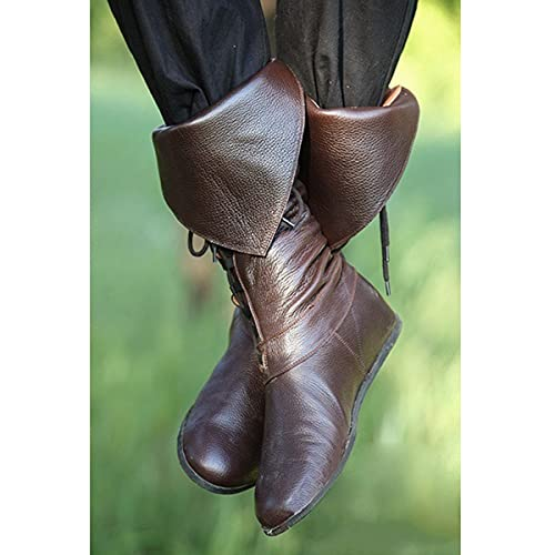 Mooke Gothic Stiefel Mit Langem Schaft Knielang Schnürstiefel Aus Kunstleder Bogenschütze Cosplay Kostüm Renaissance Mittelalterliche Steampunk Schuhe,Braun,44