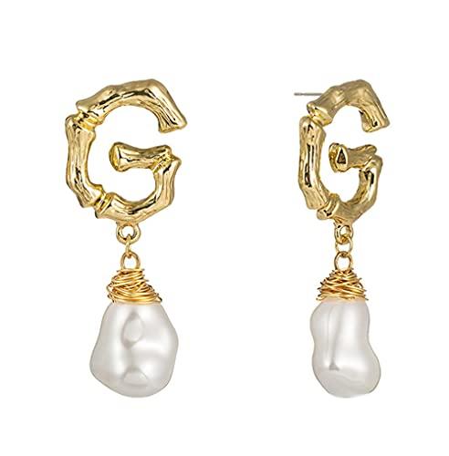 N\A Letra G Forma Pendientes Colgantes con Perla de imitación para niñas, Pendientes de Gota de Color Dorado para Mujeres, Pendientes para Mujeres Colgando