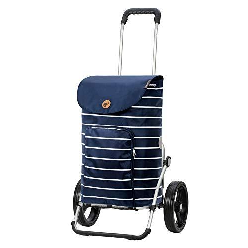 Andersen Shopper Royal mit 3-Speichenrad Alu klappbar mit Rad Ø 25cm und 41 Liter Tasche Mia blau
