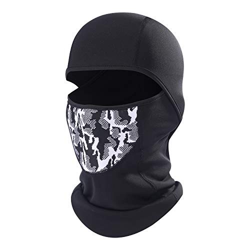 Cold Weather Ski Face Mask for Men Thermal Fleece Balaclava Hood for Skiing Gray