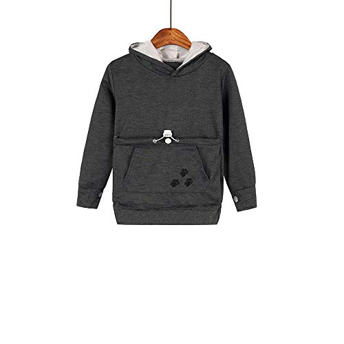 Boys Girls Kangaroo Pouch Hoodies,Pet Cat Dog Holder Carrier Sweatshirt Long Sleeve Pullover (Dark Grey, Size140/(10Y-11Y))