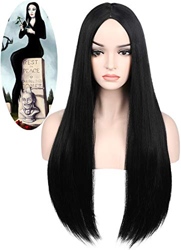 Vvgymmo Womens Long Black Wigs for Morticia Addams Costume Cosplay Straight Hair Wig Synthetic Natural Heat Resistant Fashion Wigs for Party Halloween P087BK