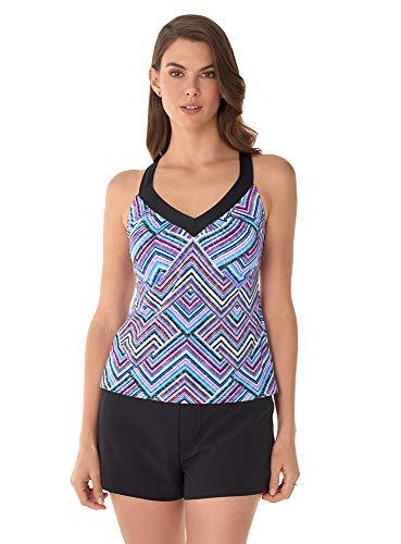Caribbean Joe Women's Swimwear Vacation State Positivity V-Neck Ring X-Back Tankini Bathing Suit Top, Multicolored, 8
