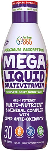 Daily Boost Mega Liquid Superfood Multivitamin by Feel Great 365, with Vitamins B12, D3, E, Glutathione, Resveratrol, Milk Thistle, Green Tea, Ginseng & More. #1 Kosher, Paleo and Vegetarian Friendly