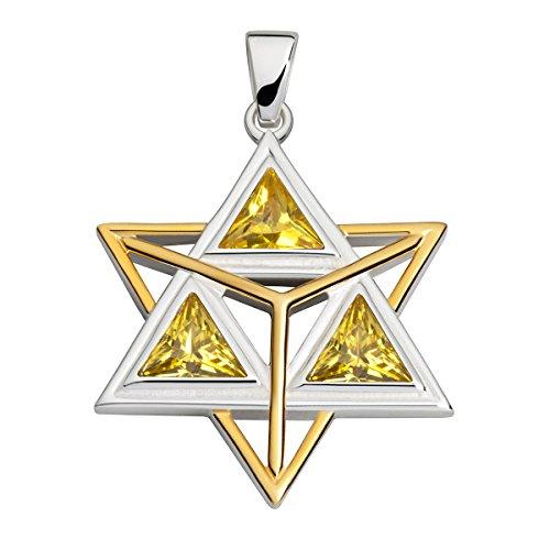 Collection Inner Light Merkaba   Anhänger für Halskette   mit gelbem ZIRKONIA   teilvergoldet   handgearbeiteter 925 Silberschmuck für Damen o. Herren   Geschenk