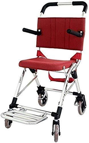 HZYDD Silla de Ruedas de tránsito portátil de Aluminio portátil, Ancho de Asiento de 13.6 Pulgadas, Rojo, Adecuado for usuarios discapacitados y discapacitados convenientes