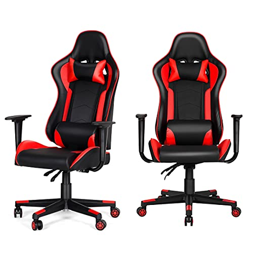 HOMROM Gaming Chair Computer Game Chair Office Chair Ergonomic High Back PC Desk Chair Height Adjustment Swivel Rocker with Headrest and Lumbar Support Lumbar Pillow,Red