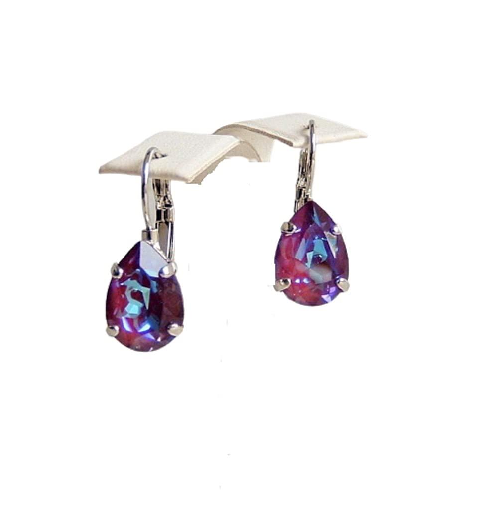 Fees free Surprise price Burgundy DeLite Multi Purple Teardrop Hypoallergeni Blue Crystal