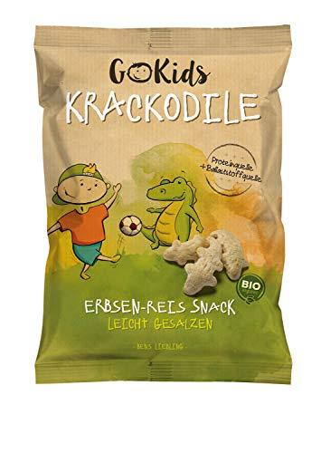 GoKids Krackodile: Bio Erbsen-Reis Snack,leicht gesalzen (14 x 30g)