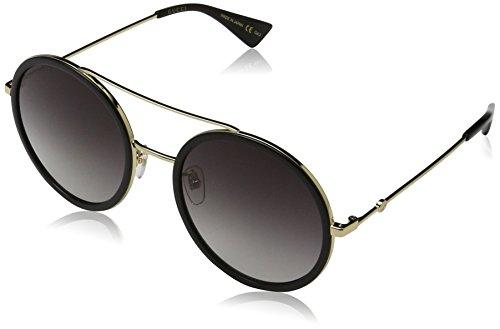 Gucci GG0061S 001 Occhiali da Sole, Oro (Gold/Grey), 56 Donna