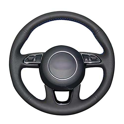 Cubierta del volante para Audi Q3 2015-2018 Q5 2013-2017 Q7 2012-2015 cosido a mano PU cuero cubierta del volante