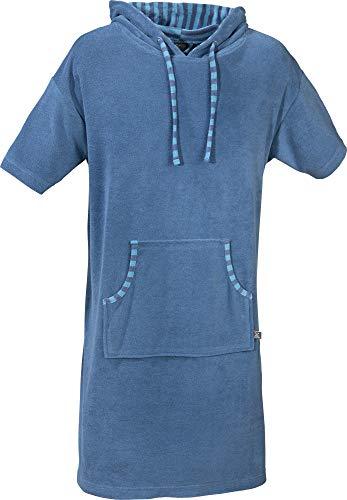 Erwin Müller Unisex Poncho, Damen - Herren - Surf-Poncho blau Größe XS-M - mit Kapuze und Taschen, Badetuch, Umkleide-Hilfe, Leicht-Frottier