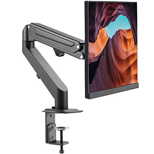 EleTab Single Monitor Stand - Articulating Gas Spring Monitor Arm, Adjustable VESA Mount Desk Stand with C-Clamp Installation - Fits 17 to 27 inch LCD Computer Monitors up to 14.3lbs
