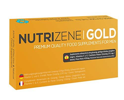 NUTRIZENE GOLD - Nuevo suplemento alimenticio seguro, efectivo y 100% natural para hombres para mejorar el rendimiento y ayudar a aumentar la resistencia y resistencia energética - 12 cápsulas