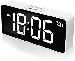 "CHEREEKI Digital Alarm Clock, 4.6"" LED Bedside Clock with Dual Alarm, USB Charging Port, 12/24 Hours, Adjustable..."