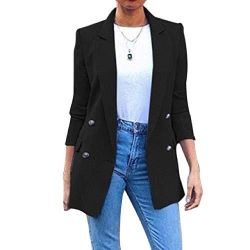 N\P Blazer - Chaqueta larga para mujer, abrigos largos y fijos, cuello con solapa, estilo informal Negro XXL