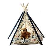 Zelt für Haustiere, 100% natürliche Baumwolle Leinwand kleine Tiere Holzstangen M?bel Bed Haus abnehmbar und waschbar mit Matraze Tierdruck,M