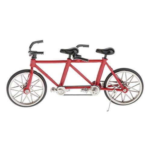 T TOOYFUL 1:16 Maßstab Tandem Deko Fahrrad Modell Spielzeug Sammlerstücke Skulptur Dekoration - Rot + Schwarz