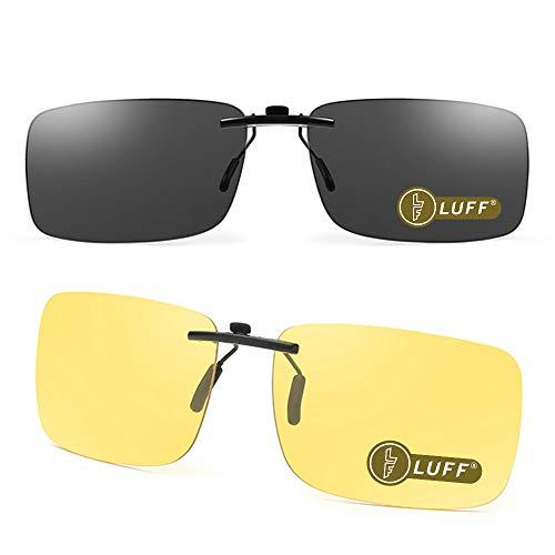 LUFF 2-teilige Sonnenbrillenclips und Nachtsichtbrillen Superleichte Clips sehen klassisch unisex aus