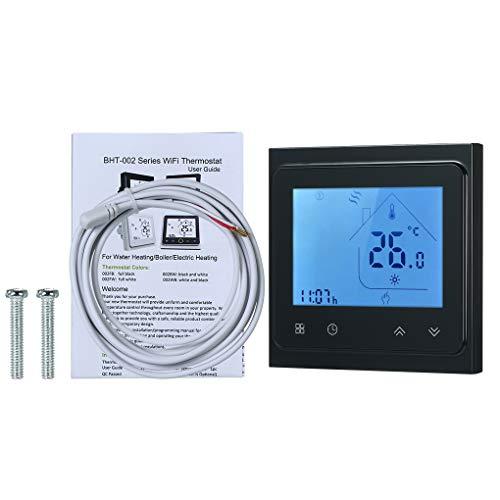 Mingtongli Wi-Fi Calefacción eléctrica Termostato LCD de Pantalla de la Sala del regulador de Temperatura con luz de Fondo táctil Sn, Negro