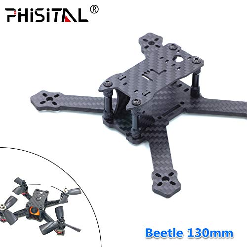 PHISITAL FPV Frame Beetle PX3 130mm Drone Quadcopter Carbon Fiber Frame for RC Racing/3mm Main Plate/2.5 inch Propeller(130mm)