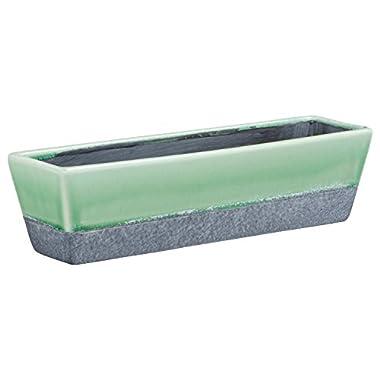 Rivet Modern Ceramic Glazed and Hand-Painted Planter, 3.15  H, Green, Grey