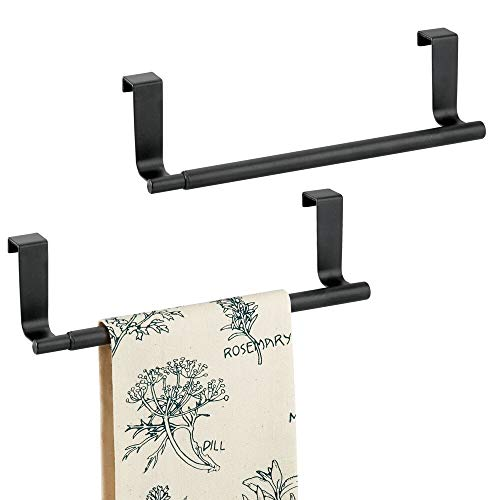 mDesign Adjustable, Expandable Kitchen Over Cabinet Towel Bar Rack - Hang on Inside or Outside of Doors, Storage for Hand, Dish, Tea Towels - 9.25