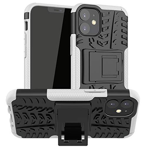 BAIYUNLONG Funda Protectora, for iPhone 12 Mini Textura de neumáticos a Prueba de Golpes TPU + PC Funda Protectora con Titular (Color : White)