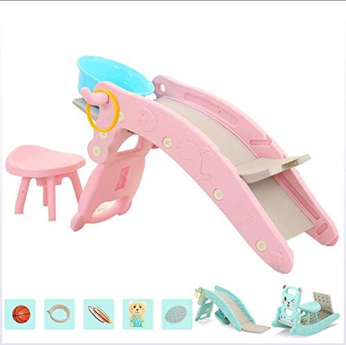 JTYX Kinderen Rocking Horse Slide Shampoo Bed Drie in Een Huis Multifunctionele Baby Trojan Rocking Cradles Speelgoed met Muziek