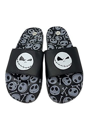 Disney Men's Nightmare Before Christmas Slippers - Jack Skellington Slip-On Soccer Slides, Size 7/8, Jack Skellington
