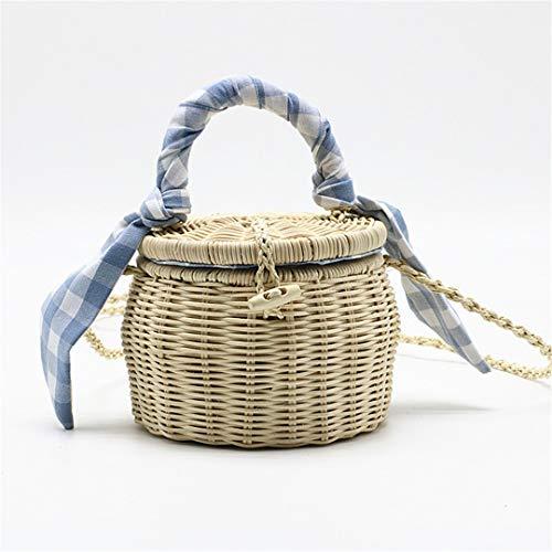 Sac de rotin Sac à Main Treillis Foulard en Soie Sac de Paille Portable Sac de Plage Petit Pot Light Blue