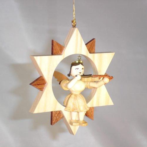 Blank engel met viool in de ster