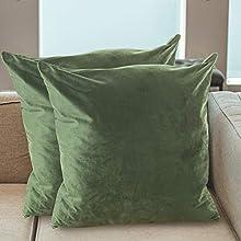 BCASE Juego de 2 Fundas de Cojin Terciopelo 45x45 cm, Funda Cojin Decorativa, Suaves y Modernas para Habitación, Sofá, Cama etc Color Verde