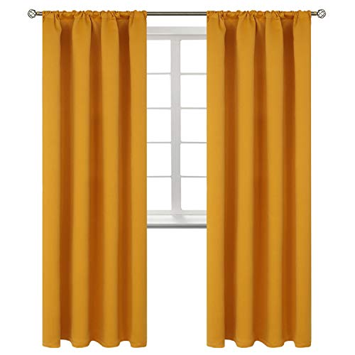 BGment Rod Pocket Blackout Curtains for Bedroom - Thermal Insulated Room Darkening Curtain for Living Room, 42 x 84 Inch, 2 Panels, Mustard