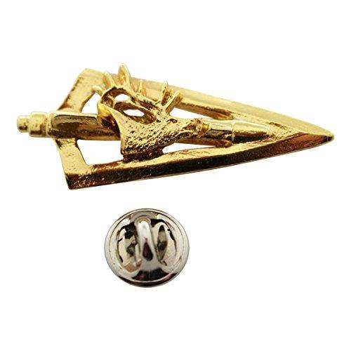 Sarah's Treats & Treasures Broadhead with Elk Pin ~ 24K Gold ~ Lapel Pin