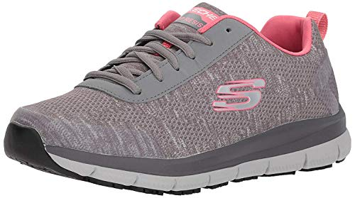 Skechers Women's Comfort Flex Sr Hc Pro Health Care Professional Shoe,gray/pink,8 M US