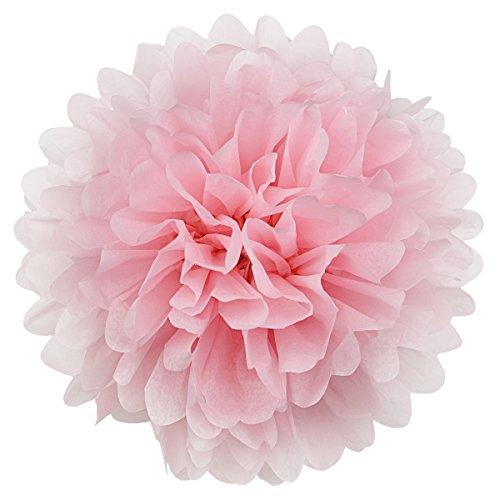 Simplydeko Pompoms 10er Set   Deko Pom-Poms aus Papier   Papierkugel zur Hochzeit oder Party   Papierblumen als Hochzeitsdeko   Seidenpapier Pompons   Rosa Rose   20 cm