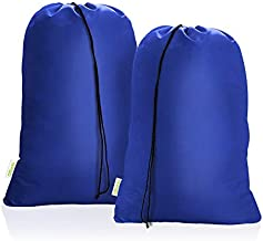 OTraki Heavy Duty Large Laundry Bags 2 Pack 28 x 45 inch XL Drawstring Travel Organizer Bag Fit Hamper Basket Camp Home College Dorm Tear Resistant Dirty Cloth Big Storage, Three Loads of Clothes Blue