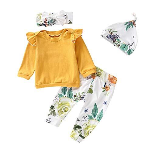 T TALENTBABY Recién nacido, niño pequeño, bebé, niña, con volantes, parte superior + pantalones florales + sombrero + cinta para la frente, conjuntos de ropa, regalos amarillo y blanco. 0-6 Meses